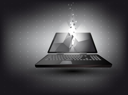 abstract background - laptop in 3D with light effect Vector