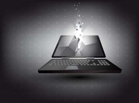 inmersion: resumen de antecedentes - ordenador port�til en 3D con efecto de luz Vectores