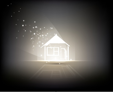 abstract background - sign of home illuminated by light