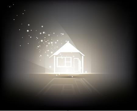 resumen de antecedentes - signo de la casa iluminada por la luz Ilustración de vector