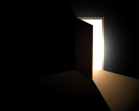 light from the open door Vector