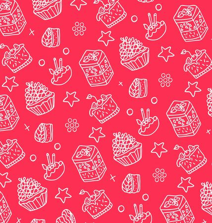 tea basket: pattern of white cakes on a pink background Illustration