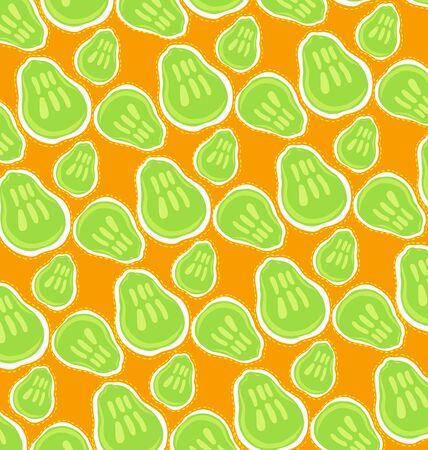 orange peel: pattern of green pears on orange background