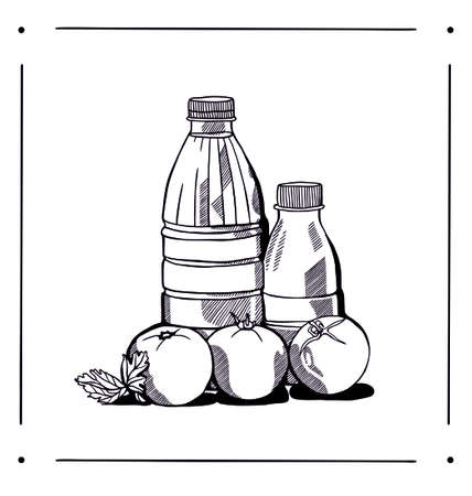 quality of life: black and white still life of graphic quality milk and vegetables Illustration