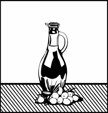 stilllife: Black and white still-life with a bottle of oil and olives