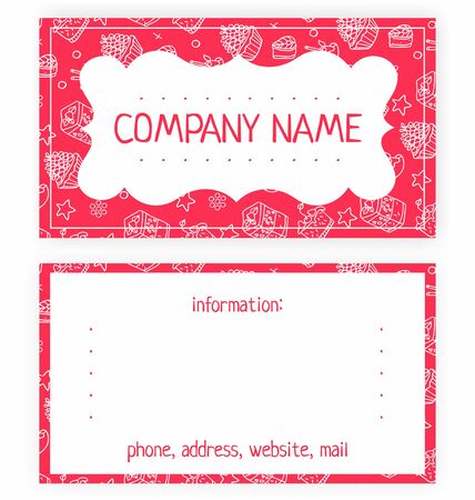 tea basket: business card of white cakes on a pink background
