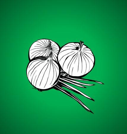 breezy: onions on a green background