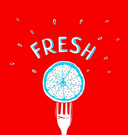 breezy: fresh slice of orange on a red background Illustration