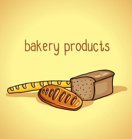 tommy: illustration of bakery products on a beige background Illustration