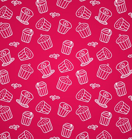 sugary: pattern of cupcakes on a pink background