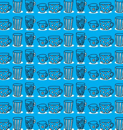 tankard: pattern of a set of mugs on a blue background