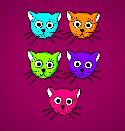 burgundy background: Illustration of multi-colored cats on burgundy background