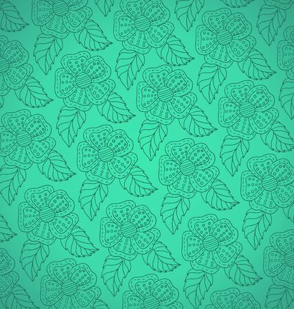 verdant: Pattern from white decorative flowers on a green background