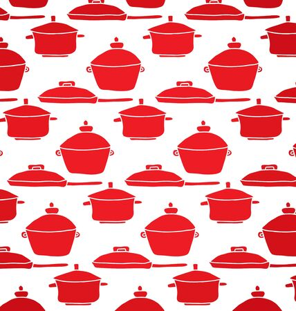 pans: pattern of red pots and pans for the kitchen