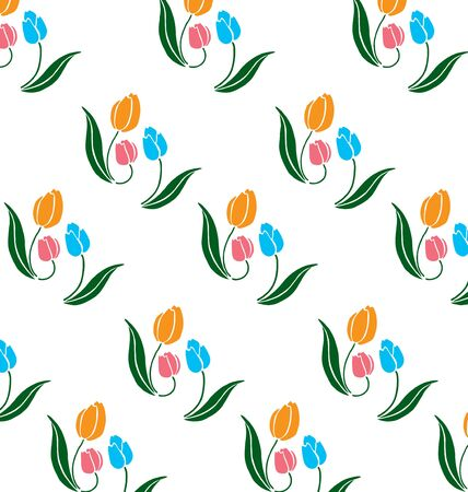 Pattern of blue and orange tulips and green leaves