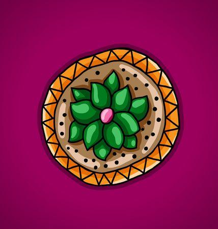 vinous: illustration of a cactus in a flower pot on an vinous background