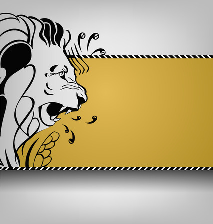 Lions pattern side view on an abstract background