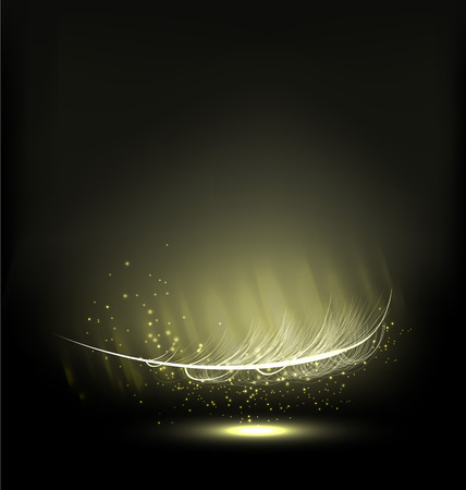 ray trace: abstract falling feather in the dark with sparks