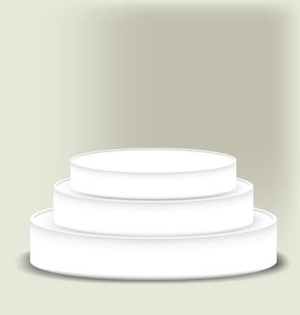multi level: White multi level podium on a dark background Illustration