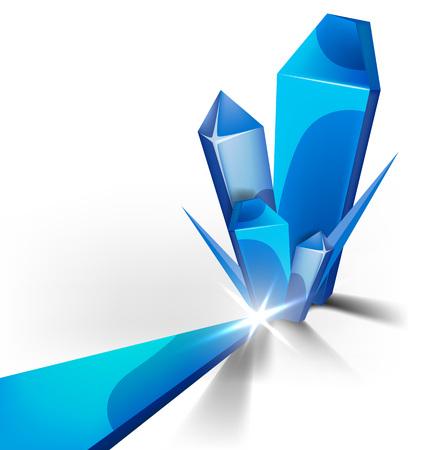 abstracte vorm van kristal blauwe ijs met glans