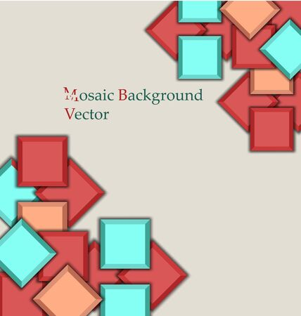 simple multilevel multicolored mosaic background  with shadows Illustration