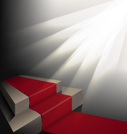 spotlight: scene with red carpet under spotlights on a dark background Illustration