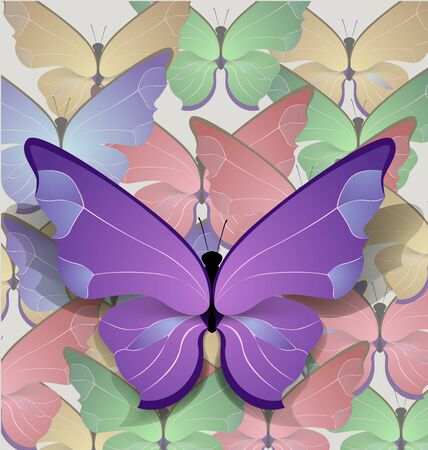 brigt: bulk brigt lilac butterfly  on background of butterflies Illustration