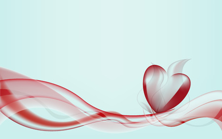 abstract waves: Abstract background of waves forming heart Illustration