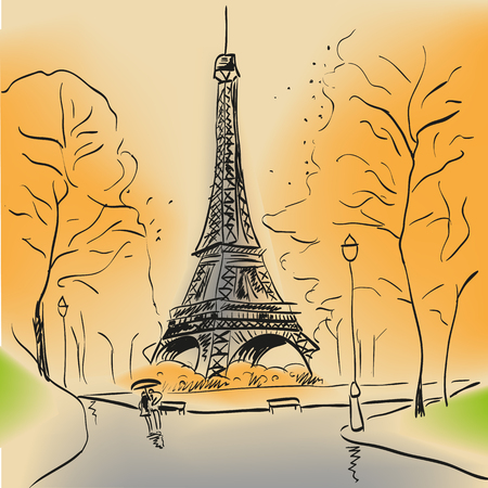 Paris Eiffel tower with autumn leaves  hand drawn style