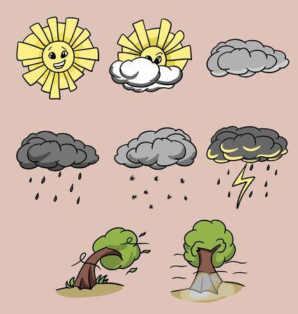 set of 8 cartoon weather icons isolated