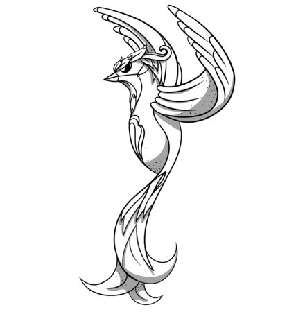 Line art of cartoon bird with shadows