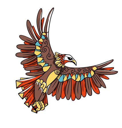 Line art of a cartoon eagle Vettoriali