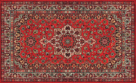 The Old Red Persian Carpet Texture, abstract ornament