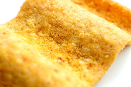 Macro closeup of seasoned wholegrain potato chips