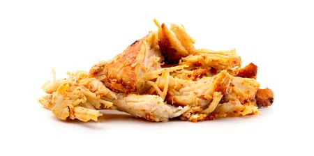 Shredded seasoned spicy tandoori masala chicken isolated on white background in studio Stock Photo