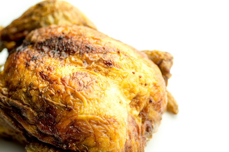Closeup breast of whole roasted chicken