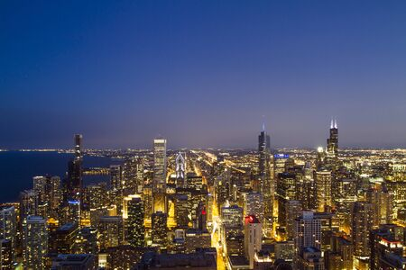 Beautiful skyline of Chicago downtown at night, USA