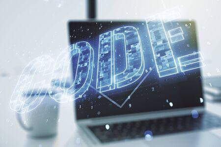 Creative Code word sign on modern computer background, international software development concept. Multiexposure