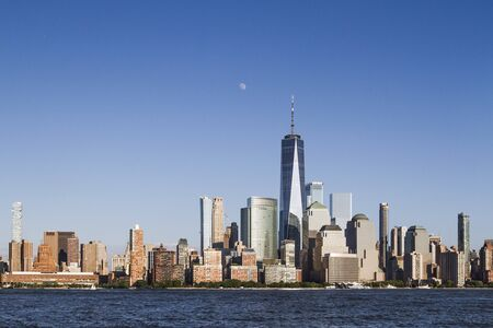 Beautiful view of New York city skyline with waterfront at daytime, USA