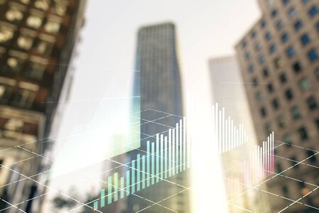 Double exposure of abstract financial chart on office buildings background, research and analytics concept Stockfoto