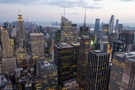 Beautiful aerial view of New York city skyline at evening, USA Stock Photo