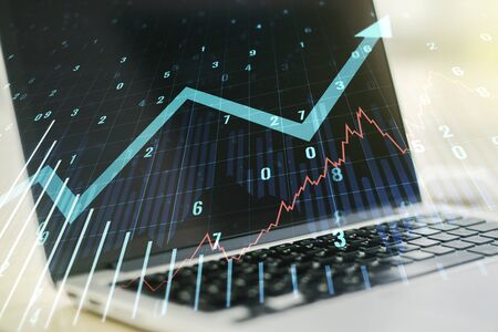 Multi exposure of abstract financial graph with upward arrow on modern computer background, financial and trading concept