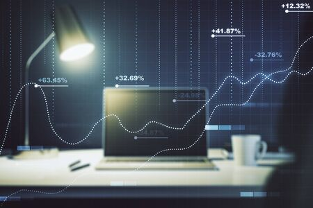 Multi exposure of stats data illustration on modern laptop background, computing and analytics concept