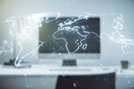Double exposure of abstract digital world map on laptop background, research and strategy concept