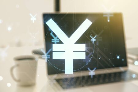 Creative Japanese Yen symbol sketch on modern laptop background, strategy and forecast concept. Multiexposure