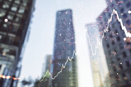 Double exposure of abstract financial graph with world map on office buildings background, financial and trading concept