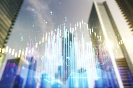 Double exposure of abstract financial graph on office buildings background, financial and trading concept