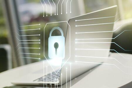 Creative light lock illustration with microcircuit on modern computer background, cyber security concept. Multiexposure 版權商用圖片