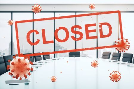 Concept empty office closed for quarantine