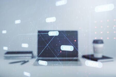Multi exposure of abstract software development hologram on laptop background, research and analytics concept